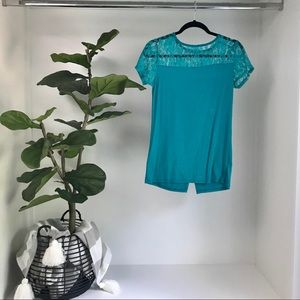 Loveappella Summer Lace & Open Back Blue Top SMALL